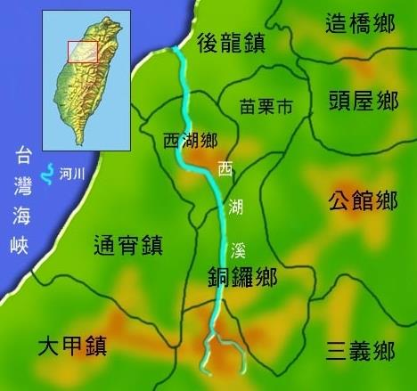 西湖溪水系地理圖_圖示