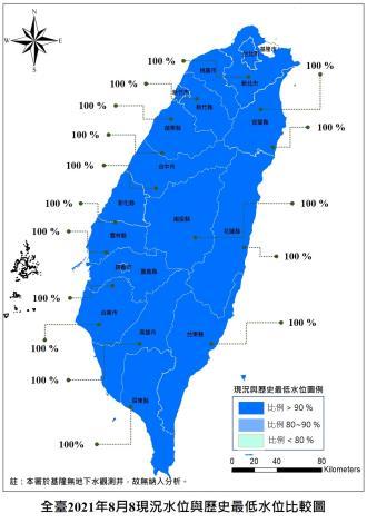 全臺2021年8月8日現況水位與歷史最低水位比較圖_圖示