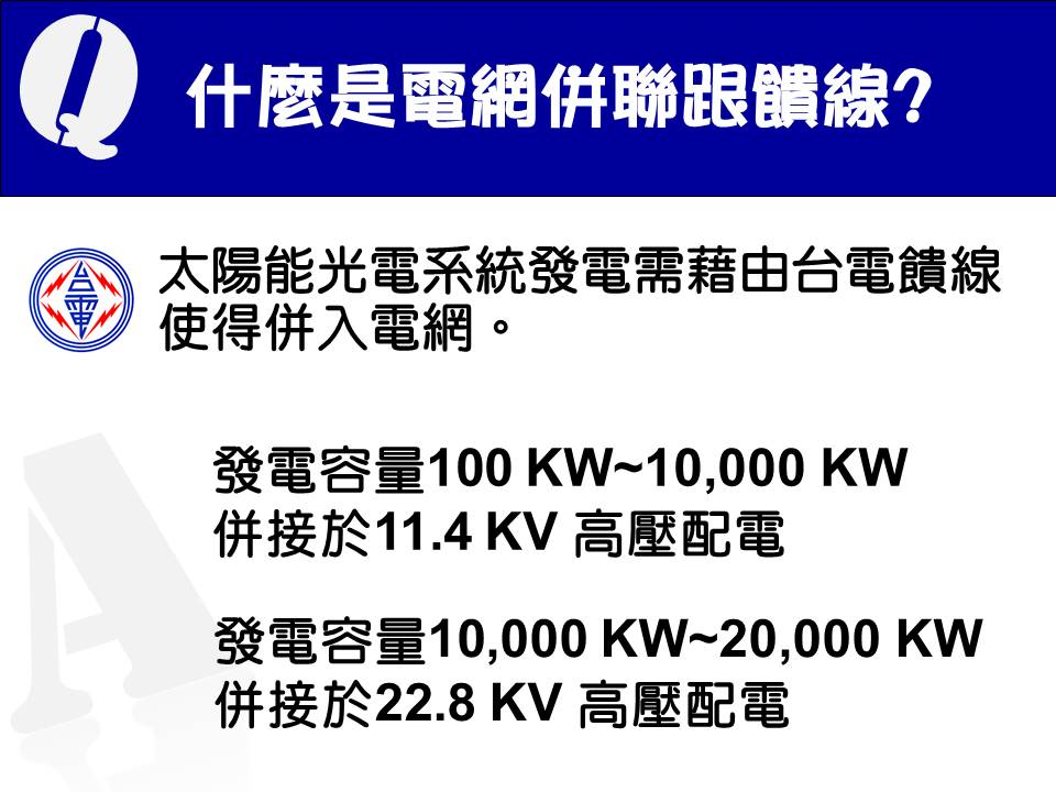 11.什麼是電網併聯跟饋線?A:太陽能光電系統發電需藉由台電饋線使得併入電網。