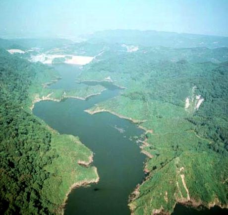 鳥瞰景山溪上游,已成水庫積水域_圖示
