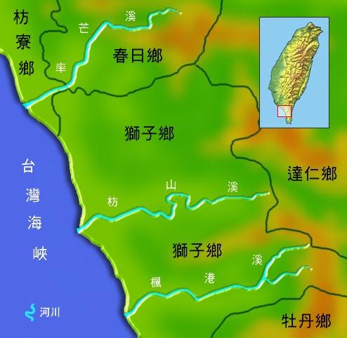 率芒溪芳山溪楓港溪水系地理圖_圖示