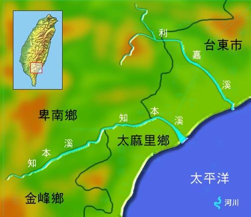 知本溪利嘉溪水系地理圖_圖示