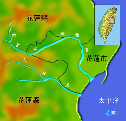 吉安溪美侖溪水系地理圖_圖示