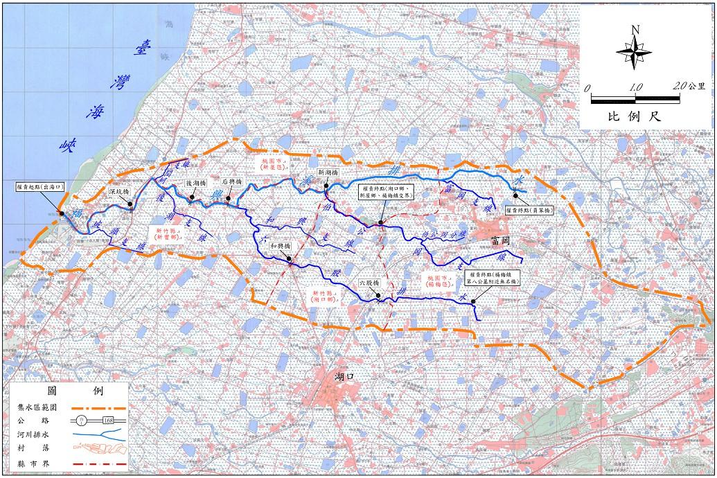 福興溪排水幹線(含六股溪排水與伯公岡支線)等三條排水為中央管區域排水