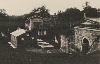 淡水水道水源地,包含取入口、配水井(水槽上家)和事務所來源:取自1912(大正1年)臺灣統計要覽