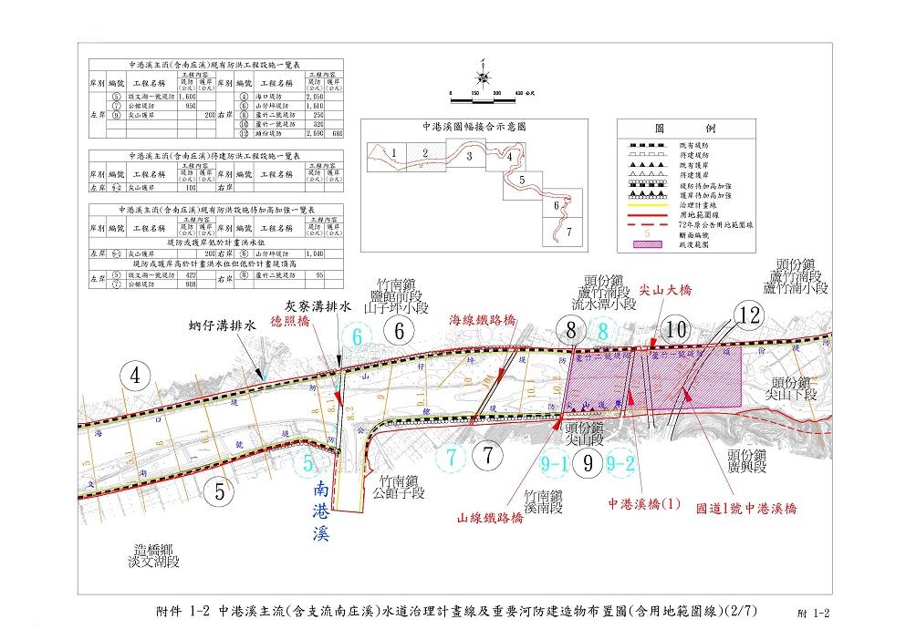 中港溪主流(含南庄溪)重要河防建造物布置圖2